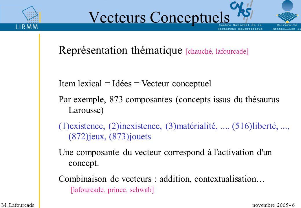 Vecteurs Conceptuels Représentation thématique [chauché, lafourcade]